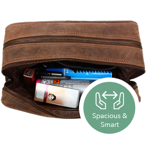 Toiletry Bags Premium genuine Leather Mens Travel Kit Men Perfect Toiletries Accessories Great Gifts