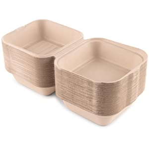 Bagasse Clamshell Takeout Containers, Take Out to Go Food Containers with Lids for Lunch Leftover