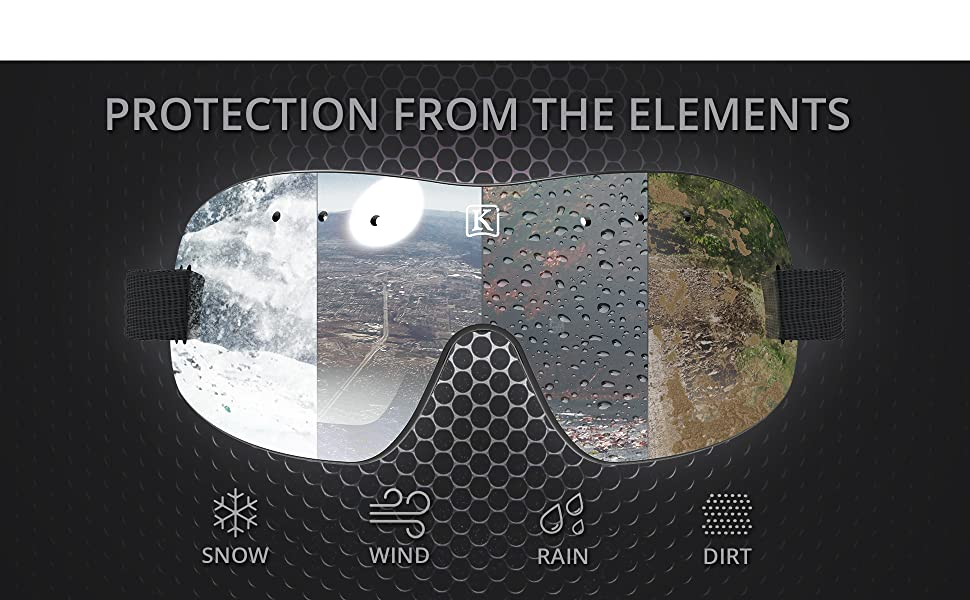 Kroop's 13-Five Goggles keep you protected from the elements snow wind rain dirt