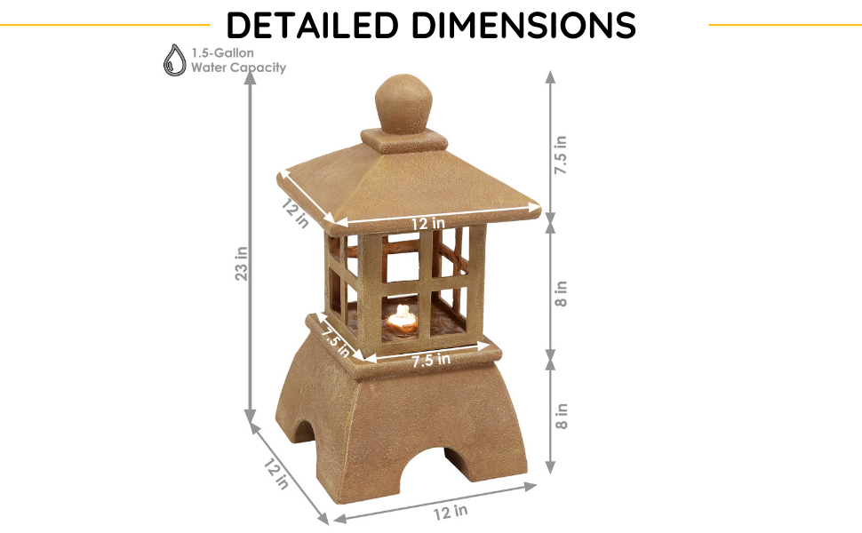 Fountain is 12 inches square and 23 inches tall. Bottom and middle sections are each 8 inches tall.