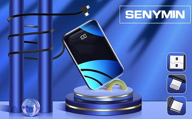 senymin モバイルバッテリー 10000mAh,パワーバンク内置电缆,最小最軽量外部バッテリー,急速携帯充電器ポ,ートスマホバッテリー,に適用iPhone&Android,iPad,Tablet等
