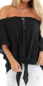 black off the shoulder shirts