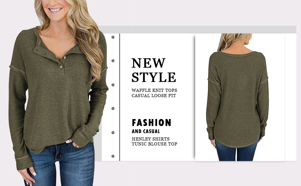 Honestyivan Womens Fashion Solid Color V-Neck Waffle Knit Button Long Sleeve T-Shirt Casual Simple Blouse Tops Autumn