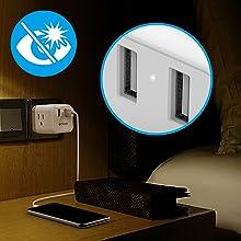 non-glaring white LED power indicator