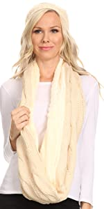warm soft faux fur casual solid knit chunky lightweight  simple warm winter cold weather scarf hat