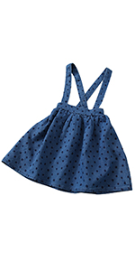 Girls Kids Solid Knit Flare A Line Mini Suspender Skirt Age 3-13 Years