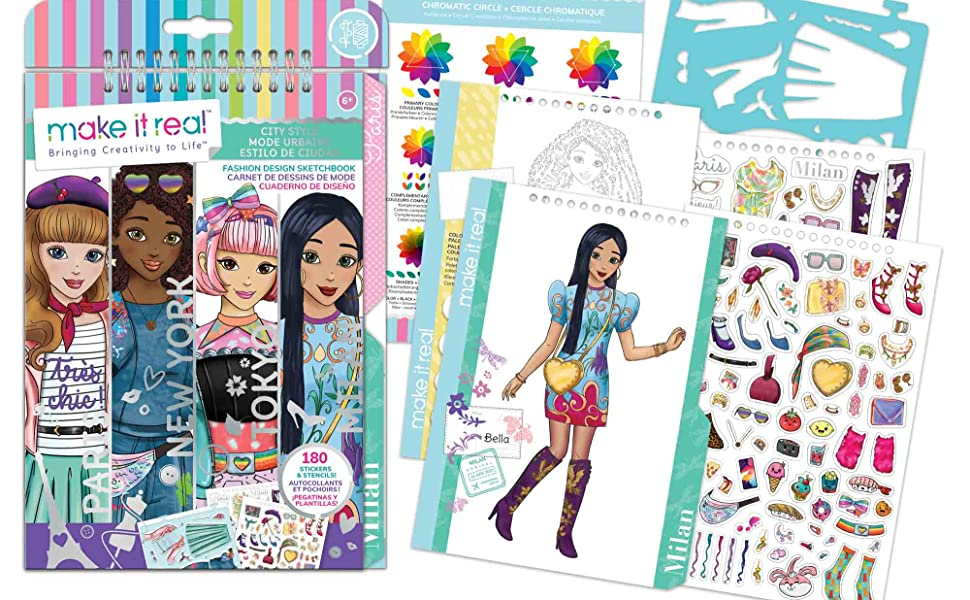 Amazon Com Make It Real Fashion Design Sketchbook City Style Inspirational Fashion Design Coloring Book For Girls Includes Sketchbook Stencils Stickers And Fashion Design Guide Toys Games