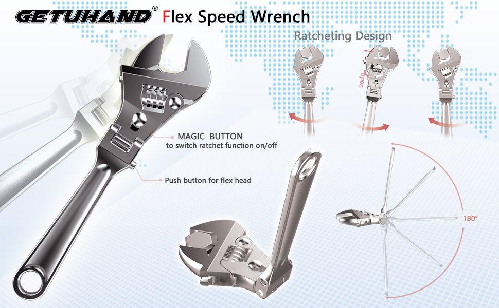 GETUHAND Flexhead Adjustable Wrench