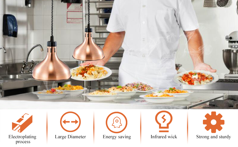 250W Food Heat Lamp Food Warmer Lamp Commercial Food Warmers 60-180mm Adjustable Length 290mm Dia