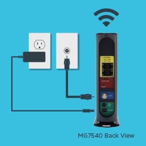 MG7540 kolay kurulum şeması: koaksiyel kablo, güç adaptörü ve WiFi bağlayın.