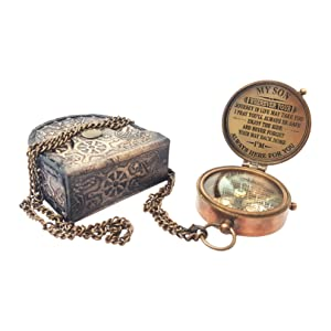 brass compass with leather case