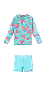 Cyan Flower Swimsuits
