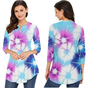 Womens Color Block Tie Dye Shirts Blouse
