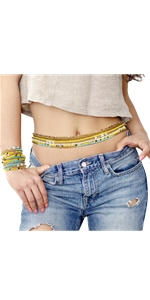 Waist Beads Body Jewelry, 8 Pieces Colorful Belly Beads Set for Women Weight Loss, Stretchy African