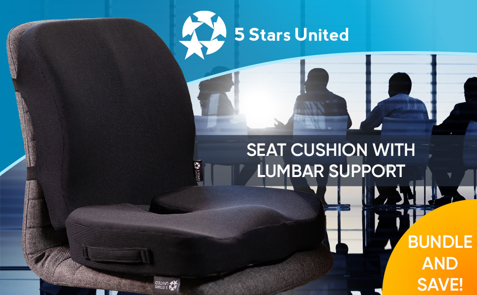 Seat Cushion with Lumbar Support Pillow for Office Chair