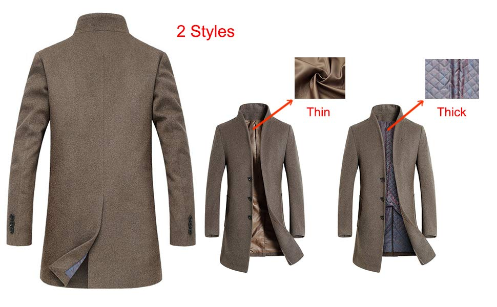 how to find complete range of articles new products for PASOK Men's Wool Trench Coat Slim Overcoat Business Down ...