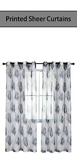 grey leaf floral sheer curtains