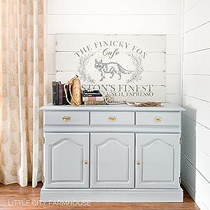 light grey farmhouse chalk furniture paint home decor diy buffet sideboard