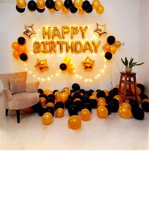 Golden and Black birthday decoration items