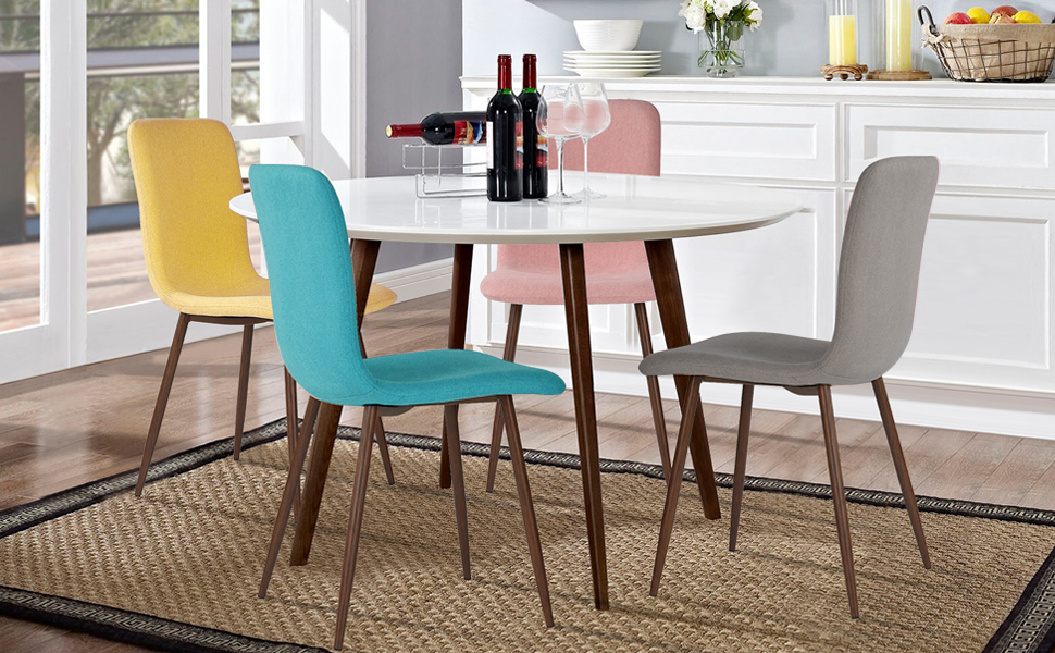 Grey Green Yellow Pink Navy Blue Coral Modern Contemporary Stylish Dining Chair Set