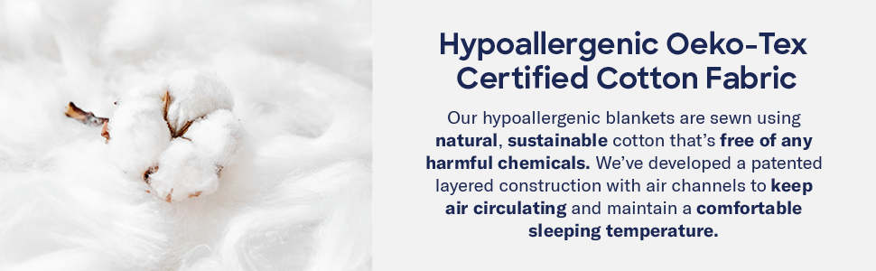 Our blanket is oeko-tex certified meaning it's organic and is free of chemicals and synthetics