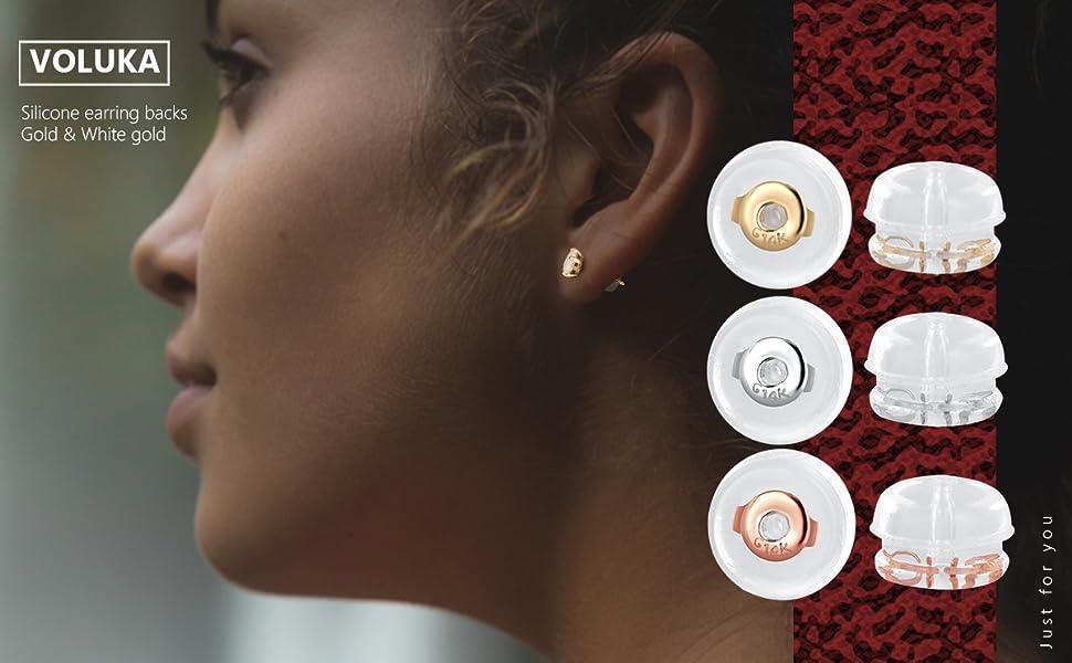 14K gold earrings and white gold earrings backs