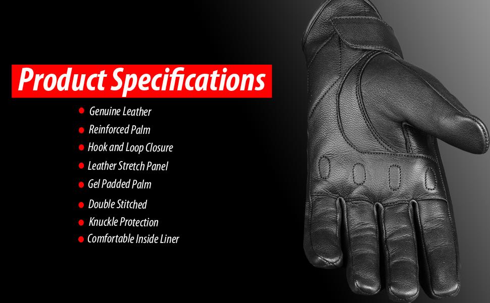 Mens Premium Leather Protective Cruiser Street Motorcycle Biker Gel Gloves S