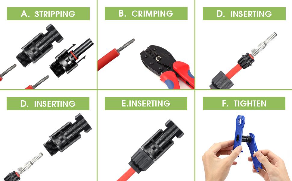 /6/mm Negro PNI de solmc 4mt pn4/de Enchufe Hembra Conector para Cable Solar DE 4/