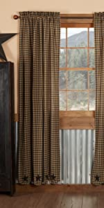 Black Star Curtains primitive country rustic Americana VHC Brands window panel prairie valance swag