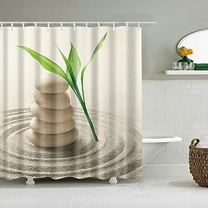 Spa Decor Bamboo Shower Curtain Set