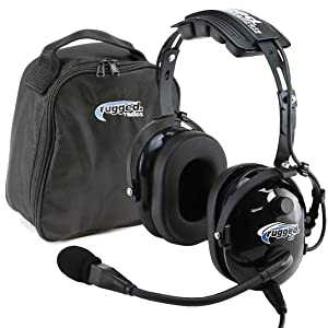 Rugged Air RA200 General Aviation Pilot Headset with GA Dual Plugs & MP3 Music Input