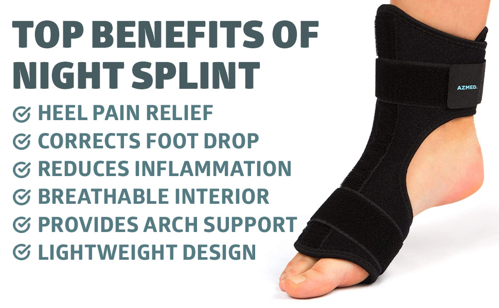 S//M Arch//Heel//Foot Pain Heel Spur XMJESS Dorsal Night Splint Foot Drop Orthotic Brace Support Adjustable Foot Night Splint for Plantar Fasciitis