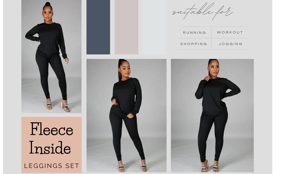 2 Piece Outfits Long Sleeve Top Legging Jogger Pants Set
