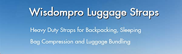 Sleeping Bag Compression with Plastic Buckle 2-Pack of Heavy Duty Straps Utility Strap for Outdoor Sports Backpacking Luggage Luggage Strap Bundling Wisdompro Sleeping Bag Strap