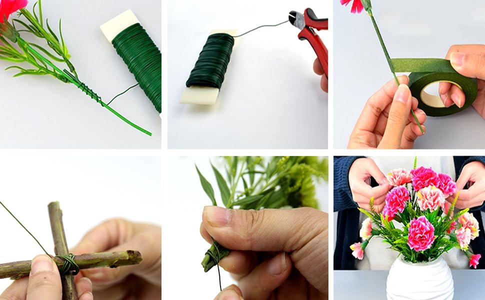 Quazilli 9 PCS Florist Wire Set Floral Tape /& Floral Wire Green Floral Tool Set for Florist Arrangement