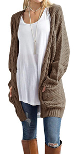 GRECERELLE Women's Cardigan Sweaters Long Sleeve Fall Knit Open Front Cardigans Sweater Blouses