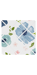 Navy Blue and Pink Watercolor Floral Fabric Memory Memo Photo Bulletin Board