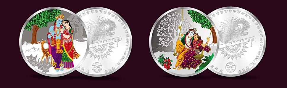 Radha Kishana Silver Coin
