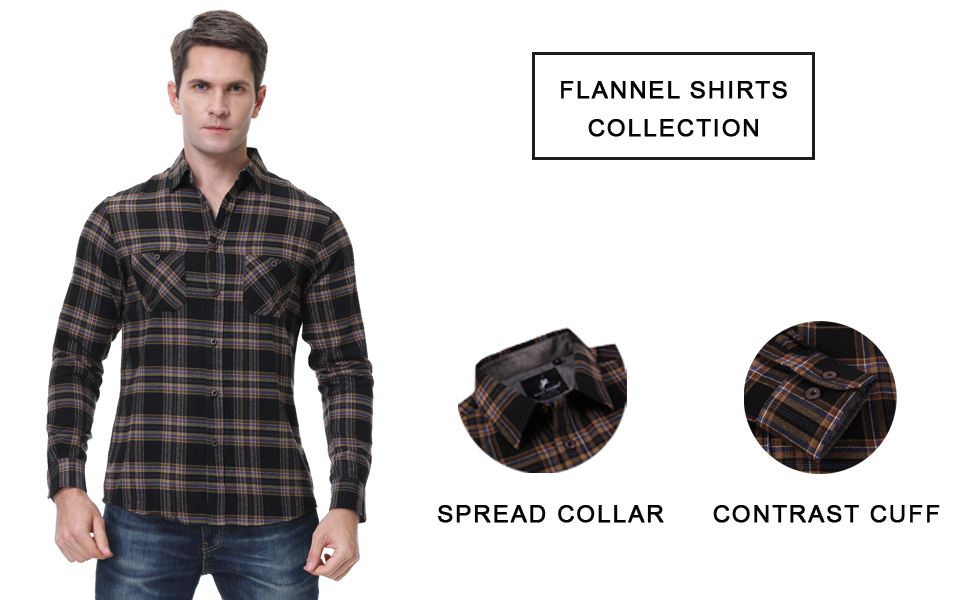 Long sleeve casual button down flannel shirts for men