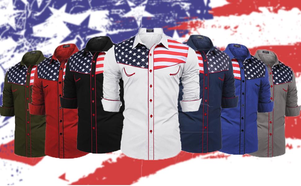 Men's western shirts American flag