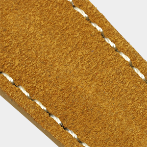 closeup of suede leather watch strap