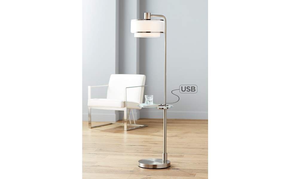 Vogue Floor Lamp with Tray Table and USB Port
