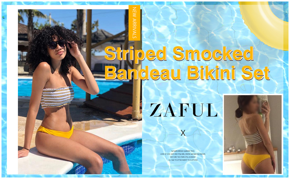 ZAFUL Stripe Smocked Bandeau Bikini Set