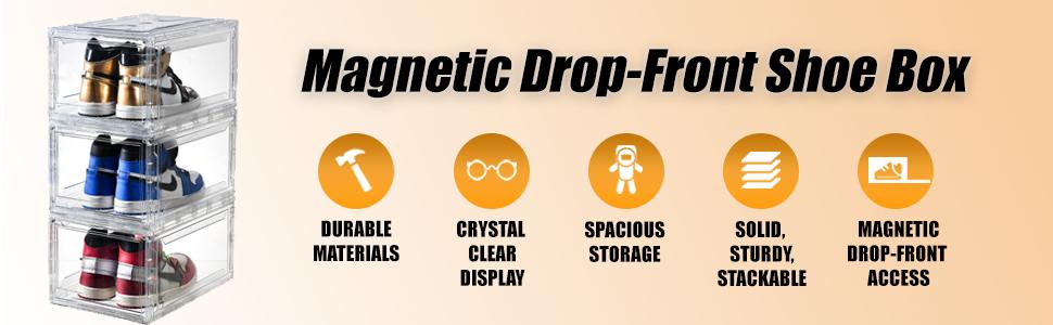 magnetic drop-front shoe box