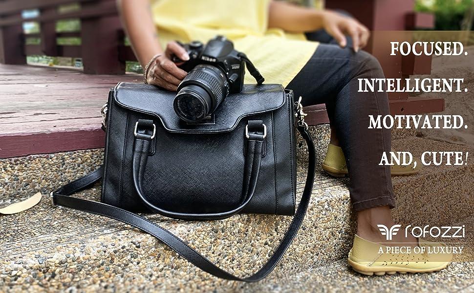 rofozzi purple relic leather camera bag women DSLR top handle handbag purse office shoulder satchel