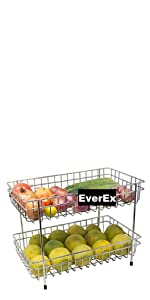 Kitchen Storage  Holder Stand Rack Stainless Steel Spice 2-Tier Trolley Container Organizer