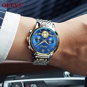 olevs water proof chronograph watch scratch resistant luxury blue men