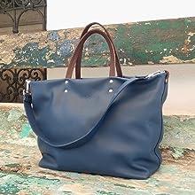 Bolso Tote Gouges Blue, Bolso para mujer shopper con Complemento Personalizado Bolso de piel