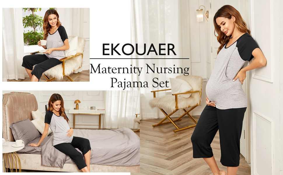 Womens Maternity Loungewear Nursing Nightgown Sleep Set Comfortable Pajama Top and Bottom Set