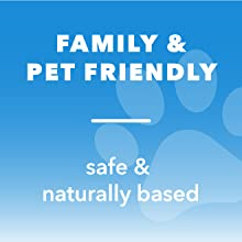 "Image with text that reads ""Family & pet friendly"" and ""safe & naturally based"" with image of paw."